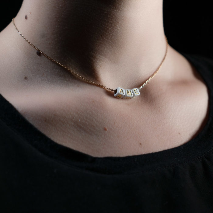 Coeur Envie - ame acidulés perle blanc or chaine - bijoux