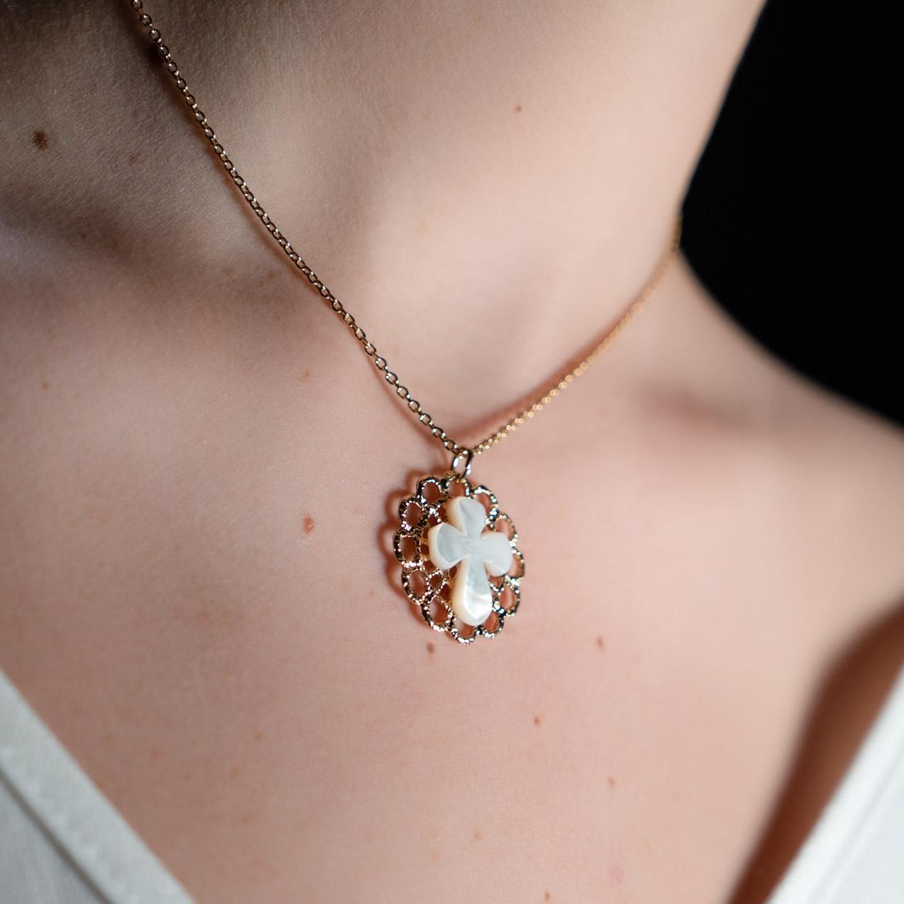 Coeur Envie - Croix nacre or - bijoux