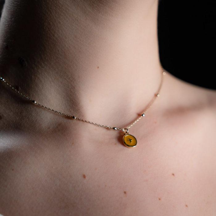 Coeur Envie - Croix or perles - bijoux