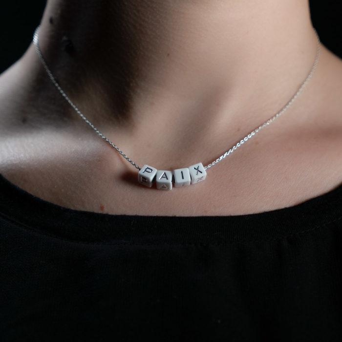 Coeur Envie - paix acidulés perle blanc argent chaine - bijoux